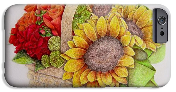 Flora Drawings iPhone Cases - Basket of Flowers iPhone Case by Sharon Patterson