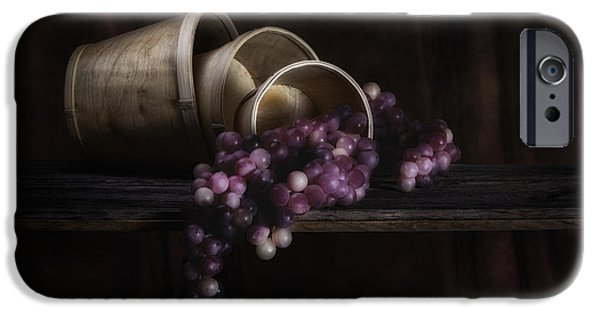 Basket iPhone Cases - Basket of Grapes Still Life iPhone Case by Tom Mc Nemar