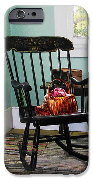Basket of Yarn on Rocking Chair iPhone Case by Susan Savad