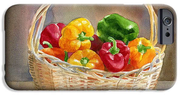 Basket iPhone Cases - Basket of Yellow Green and Red Peppers iPhone Case by Sharon Freeman