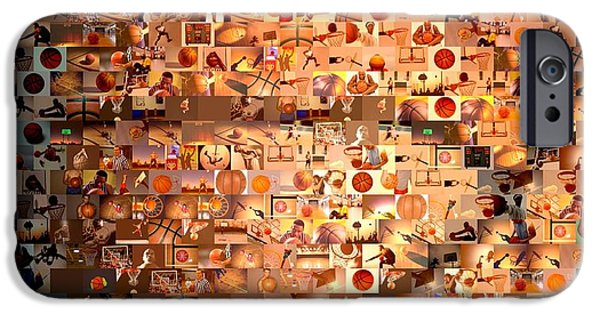 Hoops iPhone Cases - Basketball Mosaic iPhone Case by Paul Van Scott