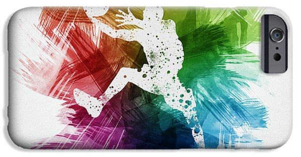 Sports Drawings iPhone Cases - Basketball Player Art 04 iPhone Case by Aged Pixel