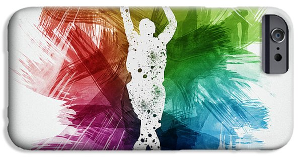 Professional Drawings iPhone Cases - Basketball Player Art 22 iPhone Case by Aged Pixel