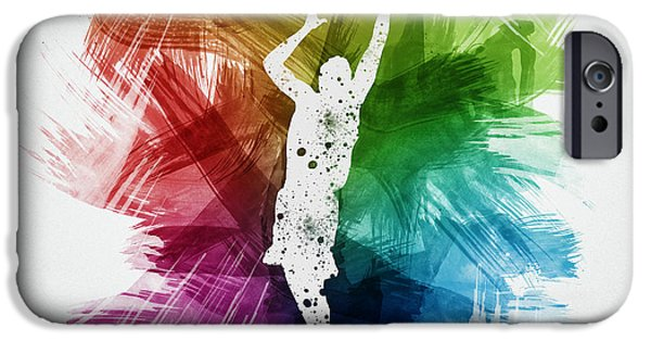 Professional Drawings iPhone Cases - Basketball Player Art 24 iPhone Case by Aged Pixel