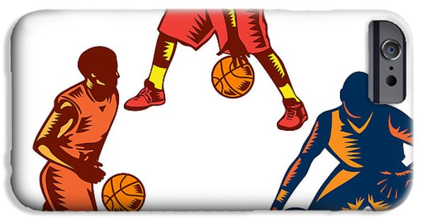 Dribbling iPhone Cases - Basketball Player Dribble Woodcut Collection iPhone Case by Aloysius Patrimonio