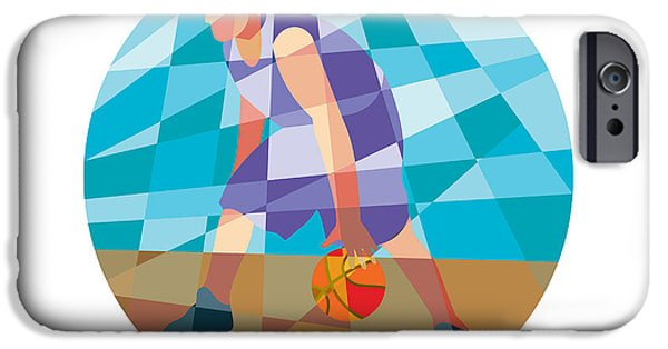 Dribbling iPhone Cases - Basketball Player Dribbling Ball Circle Low Polygon iPhone Case by Aloysius Patrimonio