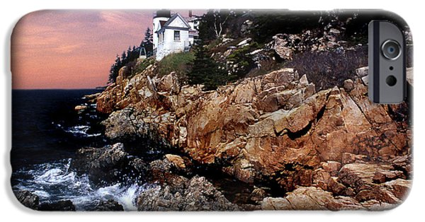 Coastal Maine iPhone Cases - Bass Harbor Head Lighthouse In Maine iPhone Case by Skip Willits