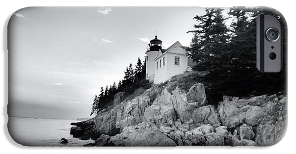 United States iPhone Cases - Bass Harbor Lighthouse in Black and White iPhone Case by Elizabeth Dow
