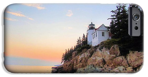 New England Lighthouse iPhone Cases - Bass Harbor Sunset II iPhone Case by Elizabeth Dow