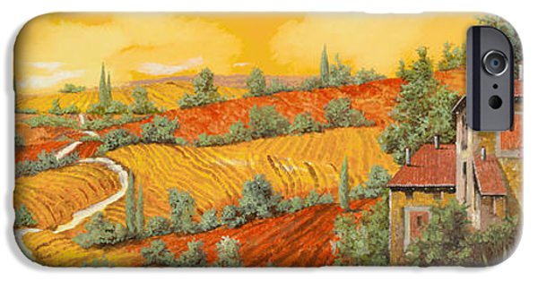 Vineyard Landscape iPhone Cases - Bassa Toscana iPhone Case by Guido Borelli