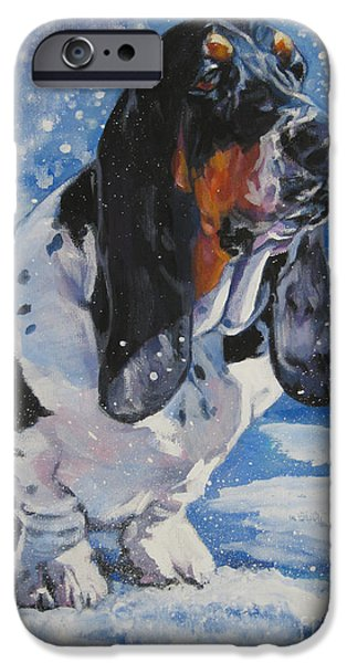 basset Hound in snow iPhone Case by L A Shepard