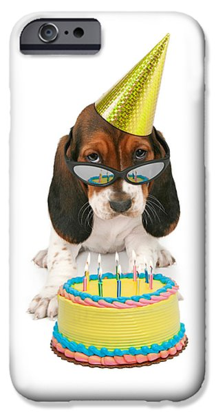 Party Birthday Party iPhone Cases - Basset Hound Puppy Wearing Sunglasses  iPhone Case by Susan  Schmitz