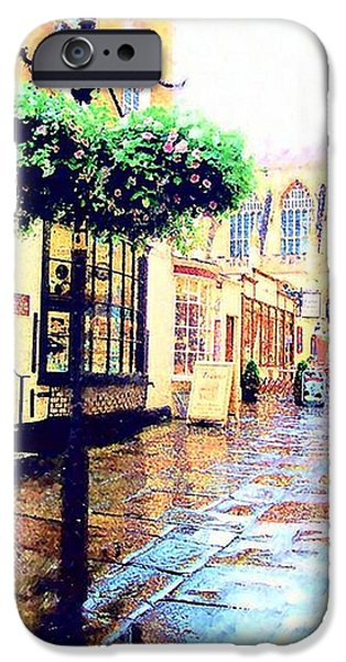 Raining Pastels iPhone Cases - Bath Abbey Side Street iPhone Case by Mandy Thomas
