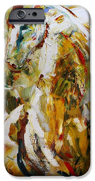 Abstract Canvas Paintings iPhone Cases - Bathed in Gold iPhone Case by Laurie Pace