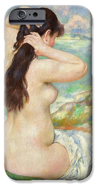 Odalisque iPhone Cases - Bather Arranging her Hair iPhone Case by Pierre Auguste Renoir