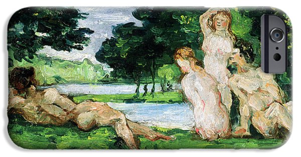 Bathing iPhone Cases - Bathers Male and Female iPhone Case by Paul Cezanne