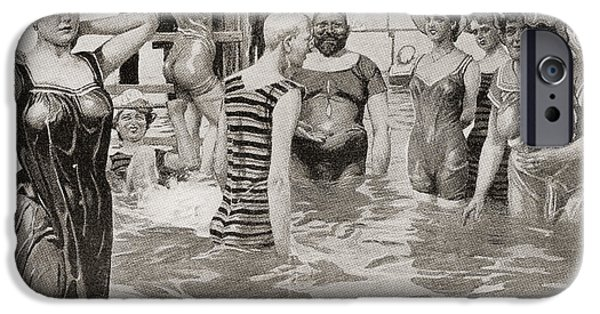 Bathing Drawings iPhone Cases - Bathing Acquaintances In The 19th iPhone Case by Ken Welsh
