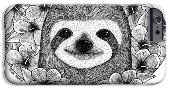 Sloth Drawings iPhone Cases - Bathing in flowers iPhone Case by Andie Shore