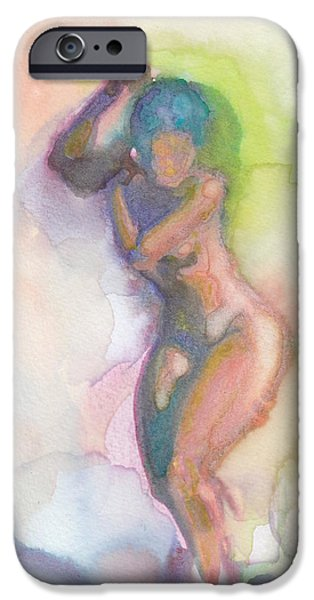 Watercolor iPhone Cases - Bathing iPhone Case by Melvin Nesbitt Jr