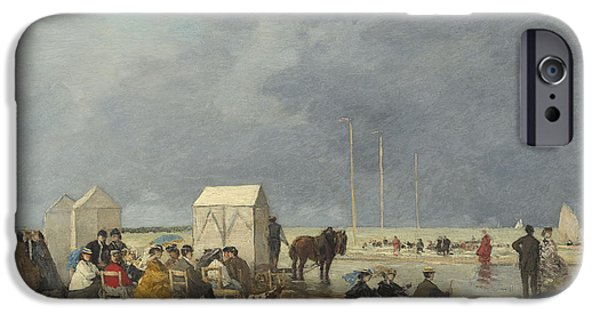 Bathing iPhone Cases - Bathing Time At Deauville iPhone Case by Eugene Boudin