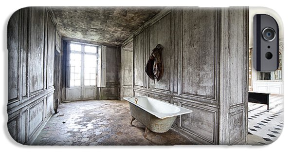Haunted House iPhone Cases - Bathroom Decay - Urban Exploration iPhone Case by Dirk Ercken