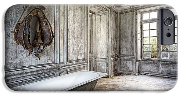 Ruin iPhone Cases - Bathroom In Decay - Abandoned Building iPhone Case by Dirk Ercken