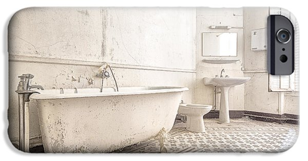 Ruin iPhone Cases - Bathroom In White - Urban Decay iPhone Case by Dirk Ercken