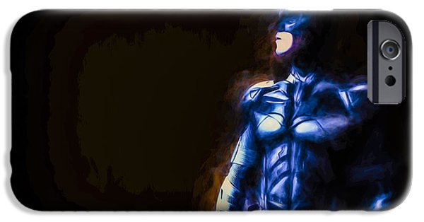 Painted Hall iPhone Cases - Batman The Dark Knight Digitally Painted iPhone Case by David Haskett