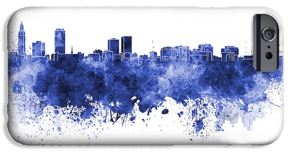 Baton Rouge iPhone Cases - Baton Rouge skyline in blue watercolor on white background iPhone Case by Pablo Romero