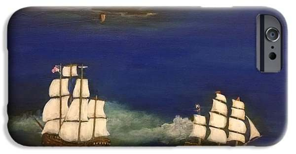 Pirate Ships iPhone Cases - Battle at Ocracoke, NC iPhone Case by Thomas Breckenridge