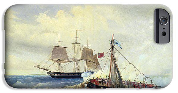 July iPhone Cases - Battle between the Russian ship Opyt and a British frigate off the coast of Nargen Island  iPhone Case by Leonid Demyanovich Blinov