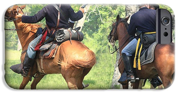 Civil War Re-enactment iPhone Cases - Battle by Horseback iPhone Case by Kim Henderson