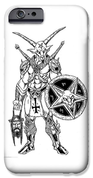 War iPhone Cases - Battle Goat Whtie Version iPhone Case by Alaric Barca