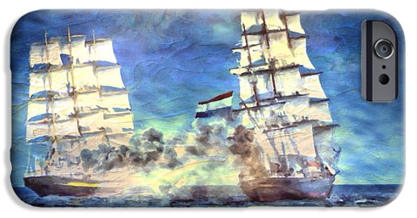 Pirate Ship iPhone Cases - Battle In The Bay iPhone Case by Mark Taylor