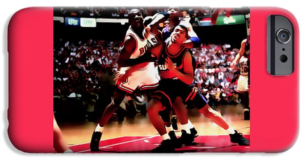Charles Barkley iPhone Cases - Battle In The Paint II iPhone Case by Brian Reaves