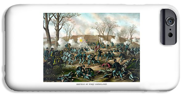 War Drawings iPhone Cases - Battle of Fort Donelson iPhone Case by War Is Hell Store