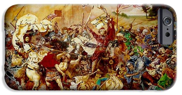 Fury iPhone Cases - Battle of Grunwald iPhone Case by Henryk Gorecki