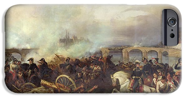 Austrian iPhone Cases - Battle of Montereau iPhone Case by Jean Charles Langlois