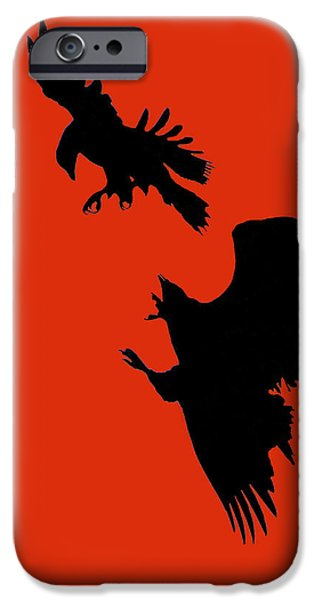 Young Digital Art iPhone Cases - Battle of the Eagles iPhone Case by William Jobes