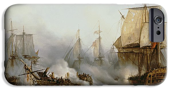 Sailing Paintings iPhone Cases - Battle of Trafalgar iPhone Case by Louis Philippe Crepin
