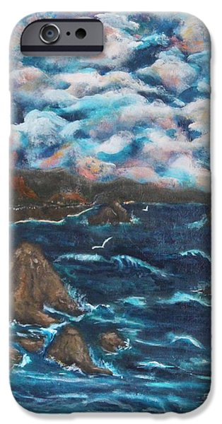 Turbulent Skies iPhone Cases - Battle Rock iPhone Case by Chaline Ouellet