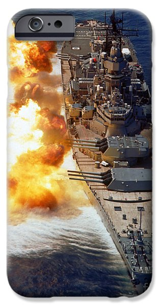 Warship iPhone Cases - Battleship Uss Iowa Firing Its Mark 7 iPhone Case by Stocktrek Images