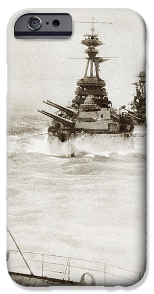 North Sea Drawings iPhone Cases - Battleships From A Battle Squadron Of iPhone Case by Ken Welsh