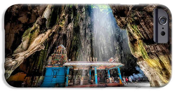 Sun Rays Digital iPhone Cases - Batu Cave Sunlight iPhone Case by Adrian Evans