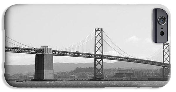 Bay Bridge iPhone Cases - Bay Bridge in Black and White iPhone Case by Carol Groenen