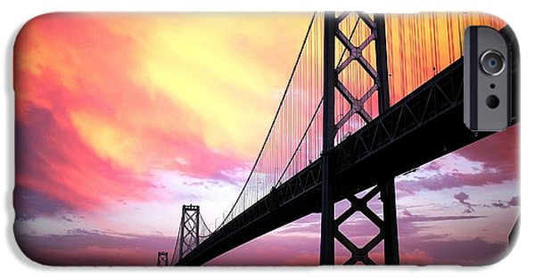 Epic iPhone Cases - Bay Bridge Sunset landscape version iPhone Case by Troy Young