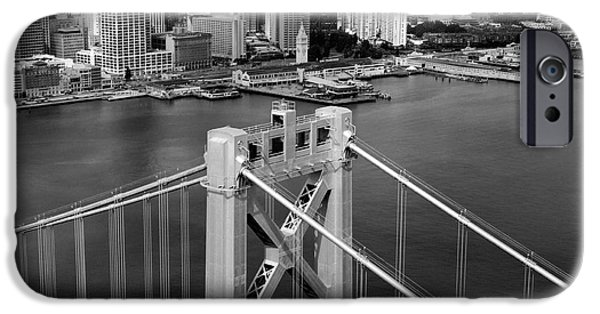 Oakland Bay Bridge iPhone Cases - BAY BRIDGE TOWER and SAN FRANCISCO SKYLINE iPhone Case by Daniel Hagerman