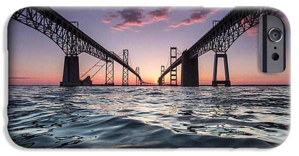 Bay Bridge iPhone Cases - Bay Bridge Twilight iPhone Case by Jennifer Casey