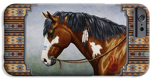 Pinto Paintings iPhone Cases - Bay Native American War Horse Southwest iPhone Case by Crista Forest