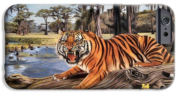 The Tiger Paintings iPhone Cases - Bayou Mike Of Louisiana iPhone Case by Mike Roberts
